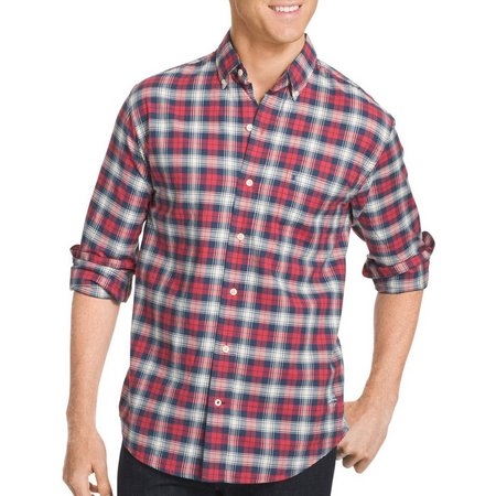 IZOD Mens Newport Plaid Long Sleeve Shirt