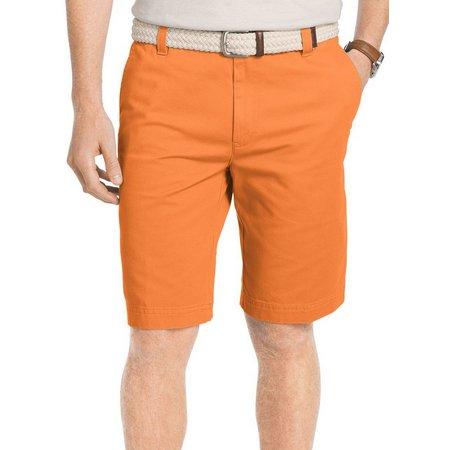 IZOD Mens Flat Front Washed Chino Shorts