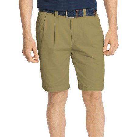 IZOD Mens Pleated Front Deep Washed Chino Shorts