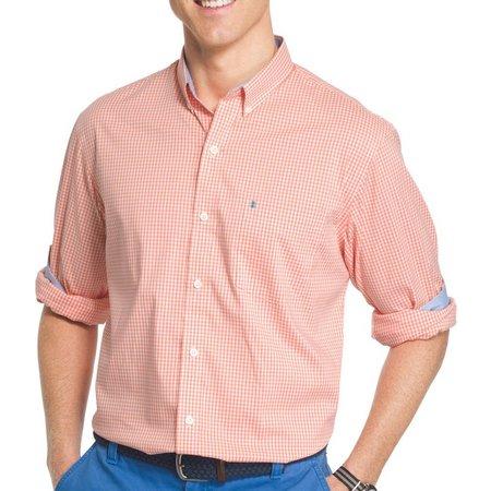 IZOD Mens Long Sleeve Advantage Gingham Shirt
