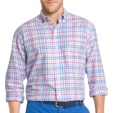 IZOD Mens Newport Plaid Long Sleeve Shirt