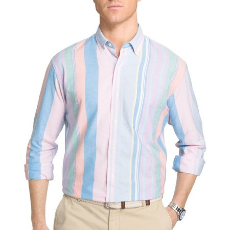 IZOD Mens Stripe Newport Oxford Woven Shirt
