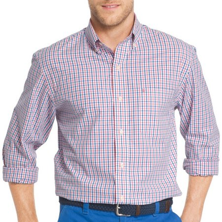 IZOD Mens Tattersall Plaid Button Down Shirt