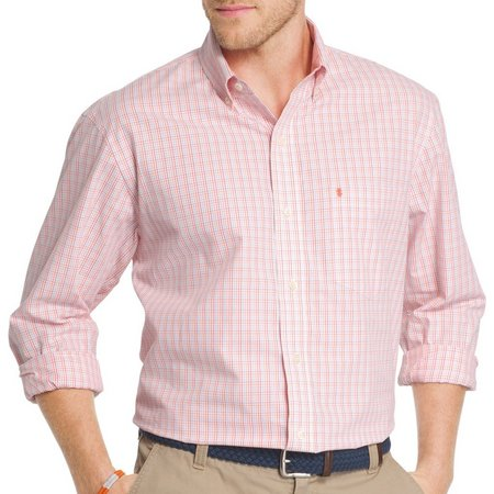 IZOD Mens Long Sleeve Check Button Down Shirt