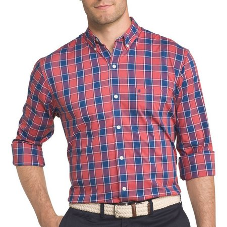 IZOD Mens Advantage Sport Flex Plaid Stretch Shirt