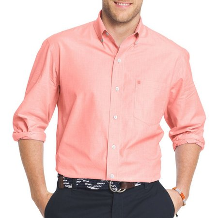 IZOD Mens Long Sleeve Essential Solid Poplin Shirt