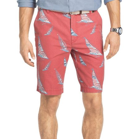 IZOD Mens Flat Front Sailboat Shorts