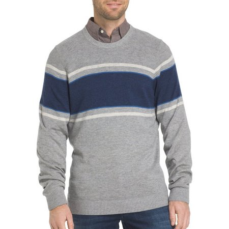 IZOD Mens Durham Chest Stripe Crew Sweater