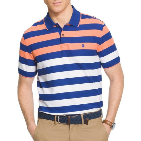 IZOD Mens Engineer Striped Performance Polo Shirt