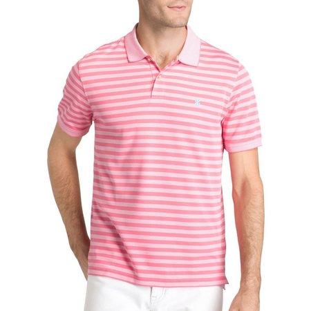 IZOD Mens Sportflex Rose Feeder Striped Polo Shirt