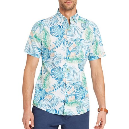IZOD Mens Tropical Leaf Short Sleeve Shirt