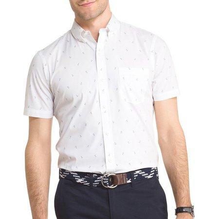 IZOD Mens Nautical Anchor Short Sleeve Shirt