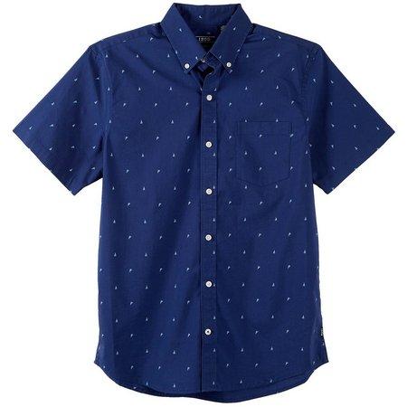 New! IZOD Mens Boat Print Short Sleeve Shirt