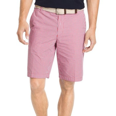IZOD Mens Flat Front Mini Plaid Shorts