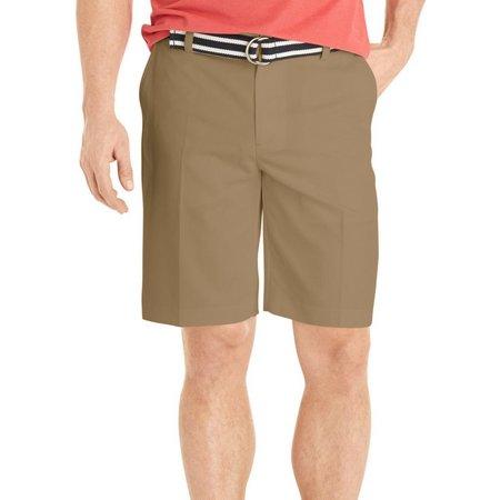 IZOD Mens Flat Front Solid Microfiber Shorts