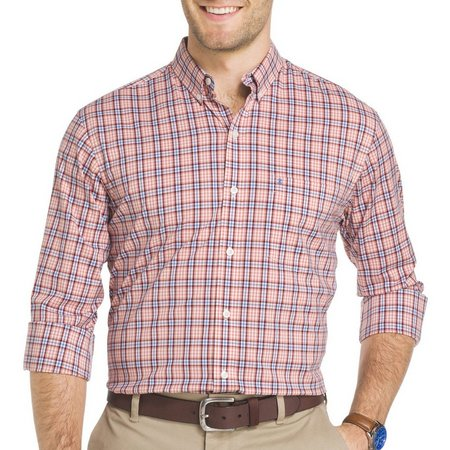 IZOD Mens Long Sleeve Advantage Plaid Shirt