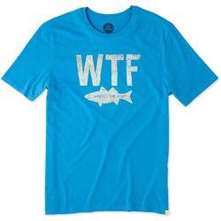 Life Is Good Mens Wtf Fish Smooth T-Shirt