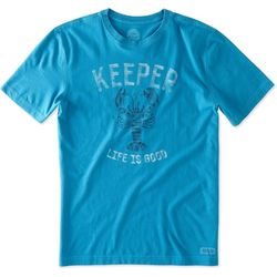 Life Is Good Mens Keeper Lobster Crusher T-Shirt