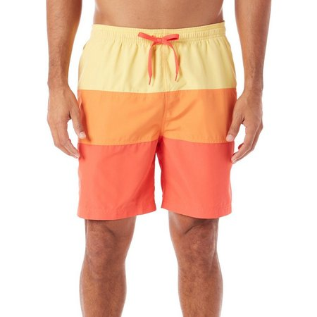 Boca Classics Mens Red Colorblock Swim Shorts