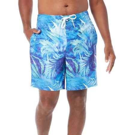 Reel Legends Mens Blue Tropical Splash Swim Trunks