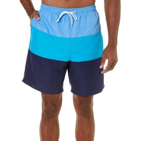 Boca Classics Mens Colorblock Elastic Waist Swim Trunks