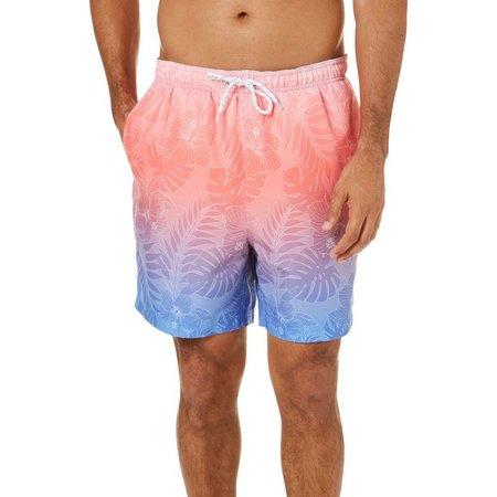 Boca Classics Mens Tropical Floral Ombre Elastic Swim