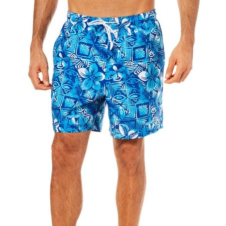 Boca Classics Mens Floral Tribal Print Swim Trunks