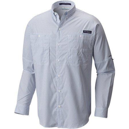 Columbia Mens PFG Super Tamiami Sky Gingham Shirt