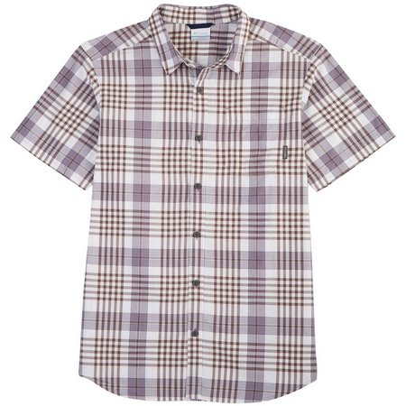 New! Columbia Mens Thompson Hill Purple Plaid Shirt