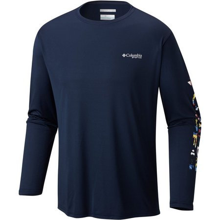 Columbia Mens Terminal Navy Long Sleeve T-Shirt