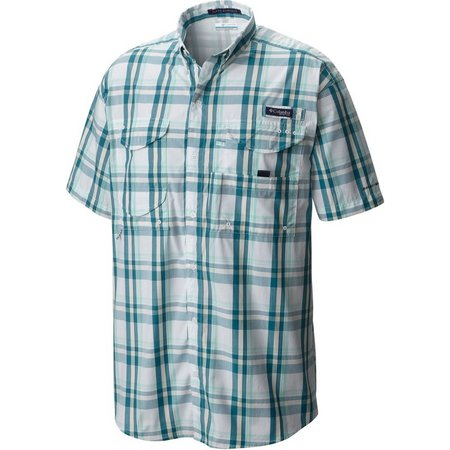 New! Columbia Mens Super Bonehead Gingham Shirt