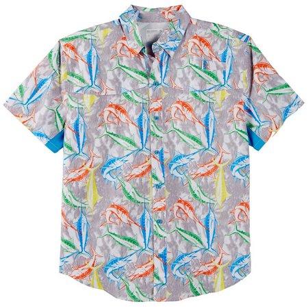Reel Legends Mens Mariner White Marlin Shirt