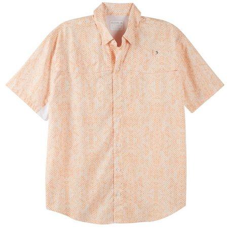 Reel Legends Mens Mariner Tangerine Scales Shirt