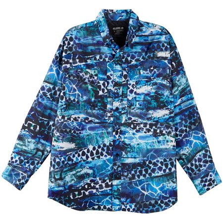 Reel Legends Mens Saltwater Neverending Blue Shirt