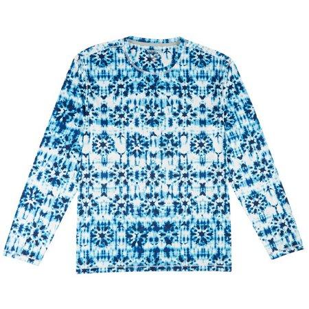 Reel Legends Mens Freeline Tie Dye Blue T-Shirt