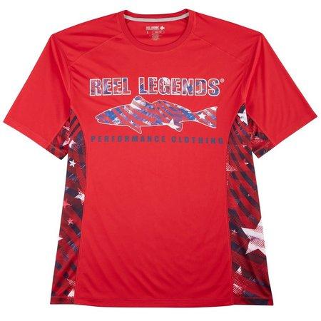 Reel Legends Mens Reel-Tec Patriotic Logo T-Shirt