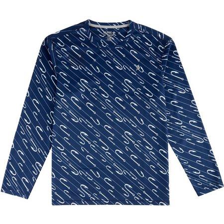 Reel Legends Mens Freeline Hooks Long Sleeve Shirt