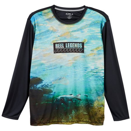 Reel Legends Mens Reel-Tec Foggy Bay Pieced T-Shirt