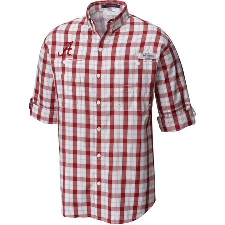Alabama Mens Long Sleeve Plaid Super Tamiami Shirt