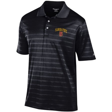 Florida State Mens Textured Stripe Polo Shirt