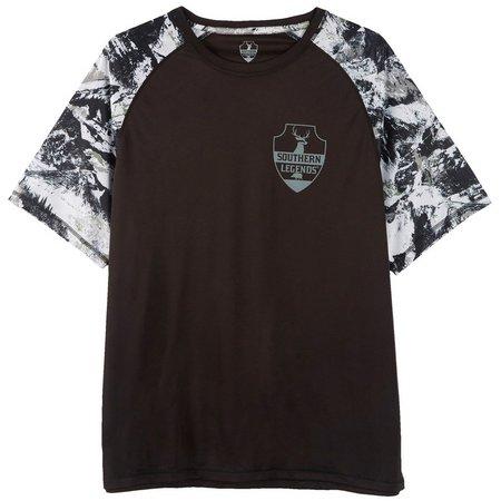 Southern Legends Mens Mountain Camo Raglan Logo T-Shirt