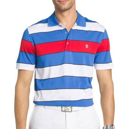 IZOD Golf Mens Wide Stripe Performance Polo Shirt