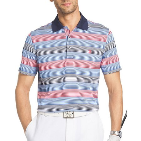 IZOD Golf Mens Multi Stripe Performance Polo Shirt