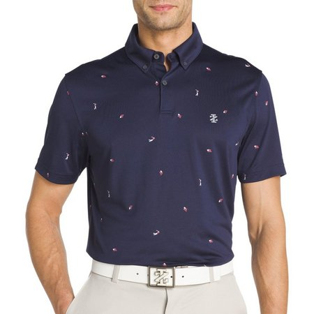 IZOD Golf Mens Flag Print Polo Shirt