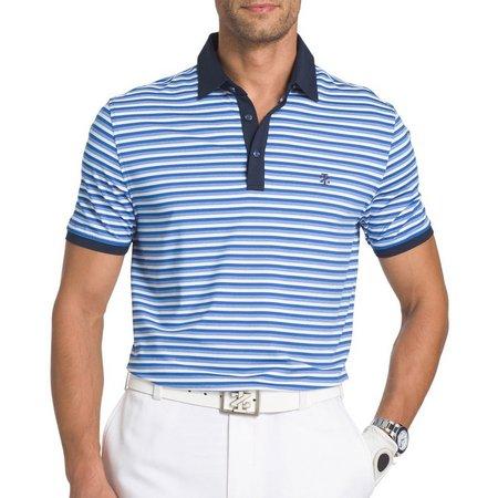 IZOD Golf Mens Blue Striped Explorer Polo Shirt