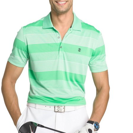 IZOD Golf Mens Irish Green Stripe Polo Shirt