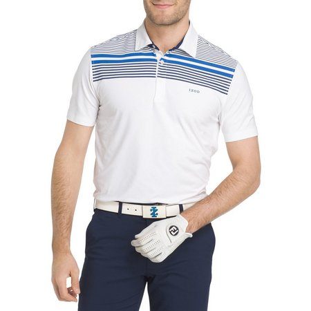 IZOD Golf Mens Bright Engineered Stripe Polo Shirt