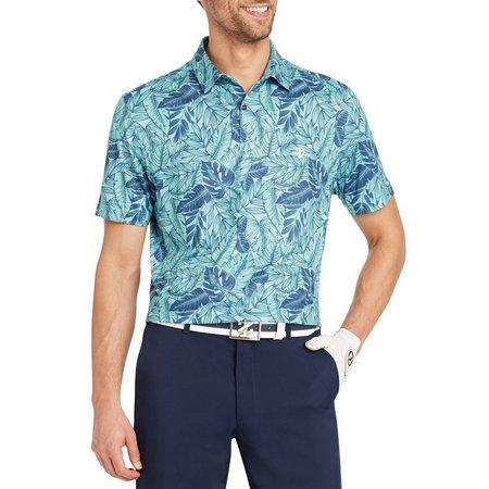IZOD Golf Mens Tropical Leaves Short Sleeve Polo
