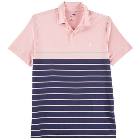 IZOD Golf Mens Swingflex Stripe Polo Shirt