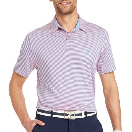 IZOD Golf Mens Swinglfex Stripe Classic Fit Polo
